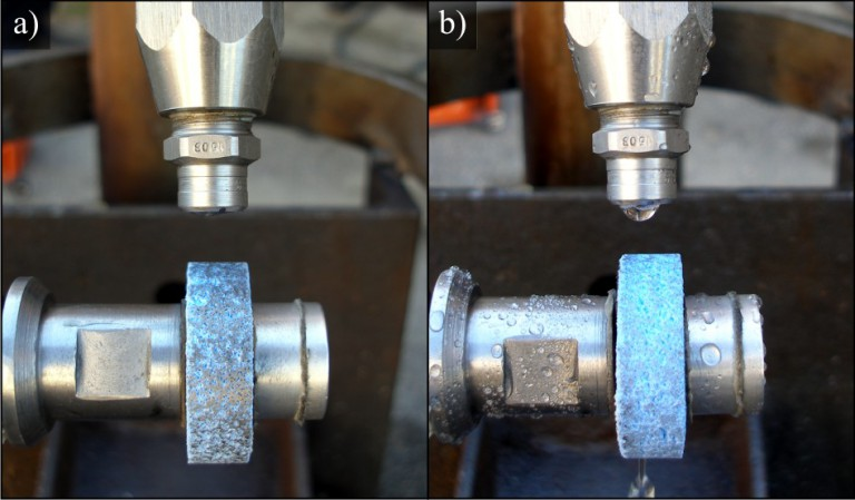 Regeneracja czynnej powierzchni ściernicy wysokociśnieniową strugą cieczy